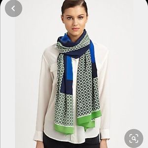 Tory Burch Silk Scarf -Navy & Green